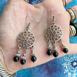 Onyx gemstones dream catcher boho dangly earrings